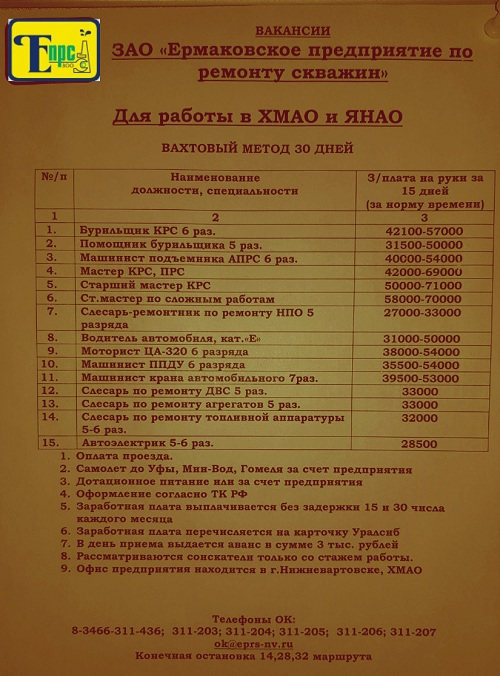 епрс список вакансий вахта
