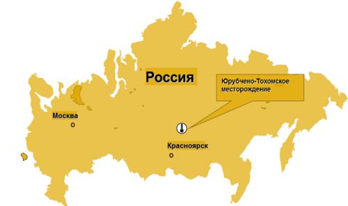на карте ЮрубченоТохомском месторождении